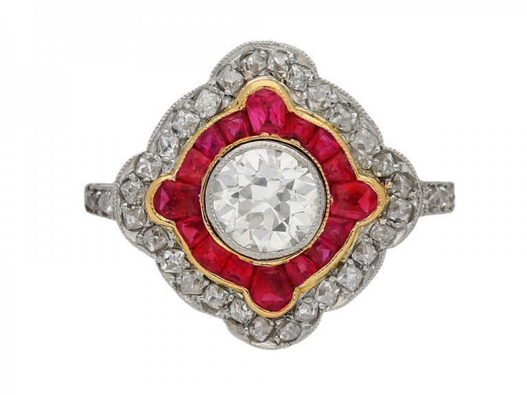 Antique diamond and ruby double cluster ring, circa 1905 berganza hatton garden
