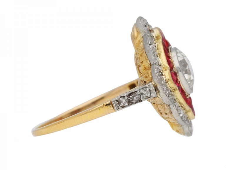 side view Antique diamond and ruby double cluster ring, circa 1905 berganza hatton garden