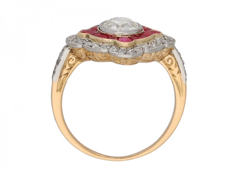 back view Antique diamond and ruby double cluster ring, circa 1905 berganza hatton garden