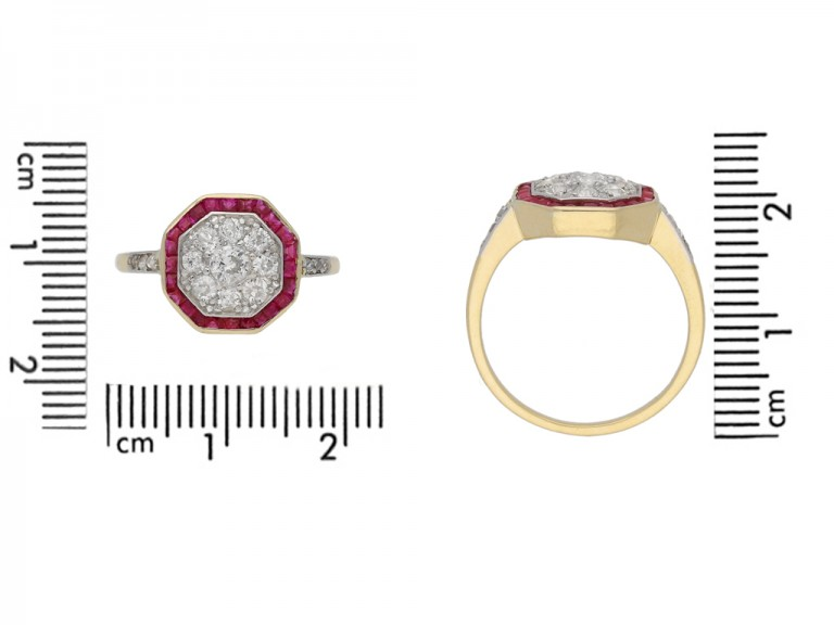 size view Diamond and ruby cluster ring, circa 1921. berganza hatton garden