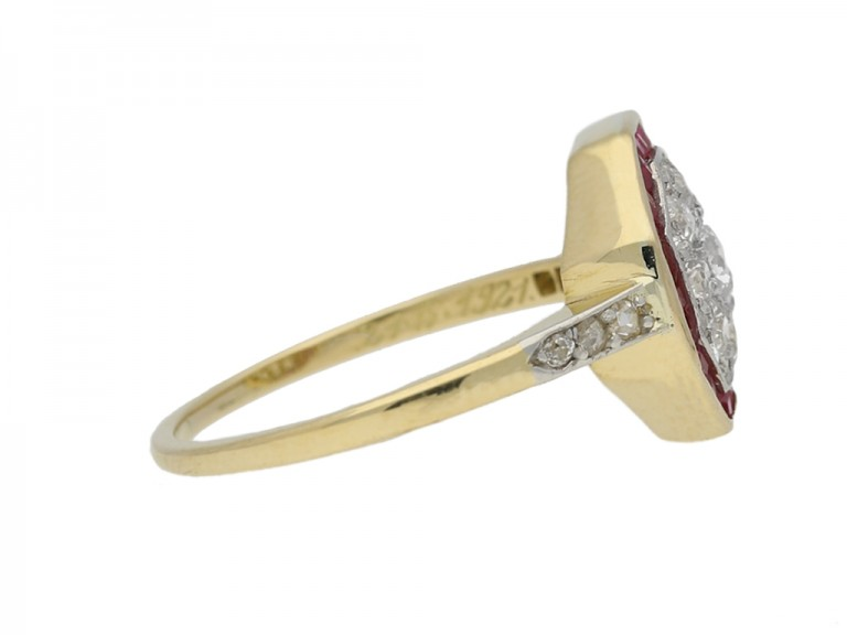 side view Diamond and ruby cluster ring, circa 1921. berganza hatton garden