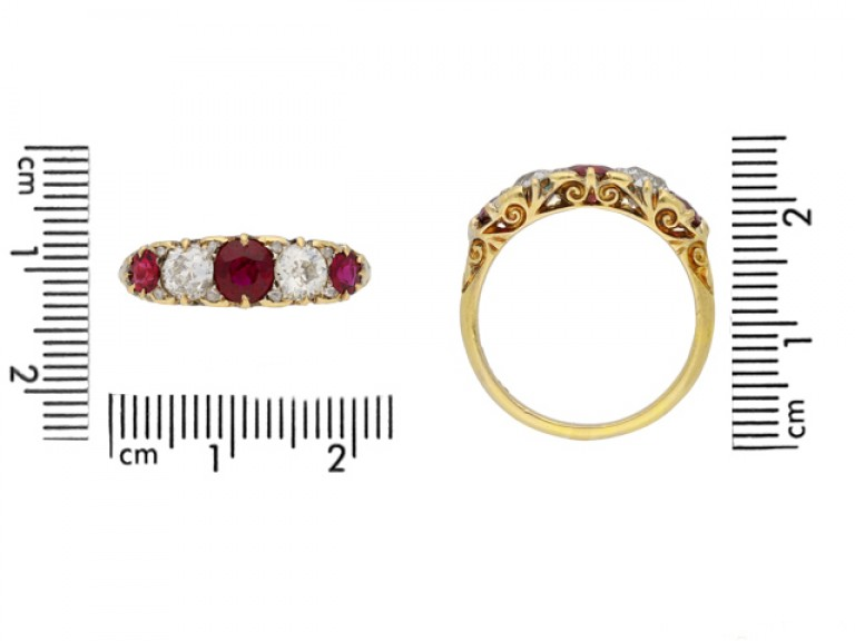 size view Antique five stone ruby and diamond ring, English, circa 1900. berganza hatton garden