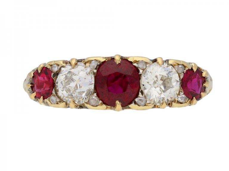 Antique five stone ruby and diamond ring, English, circa 1900. berganza hatton garden