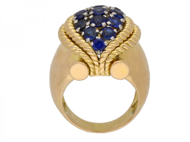 back view Sapphire cocktail ring, circa 1940. berganza hatton garden