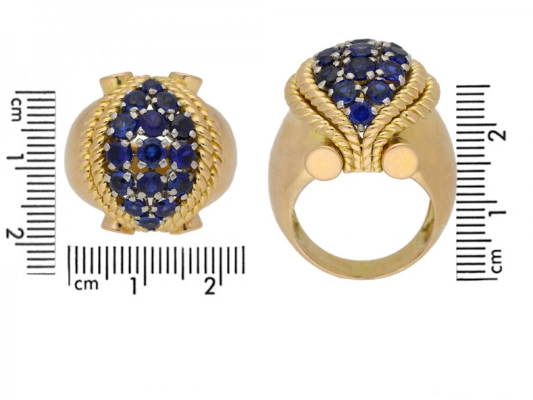 size view Sapphire cocktail ring, circa 1940. berganza hatton garden