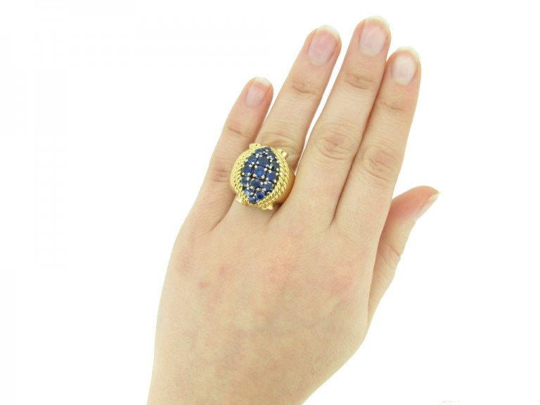 hand view Sapphire cocktail ring, circa 1940. berganza hatton garden