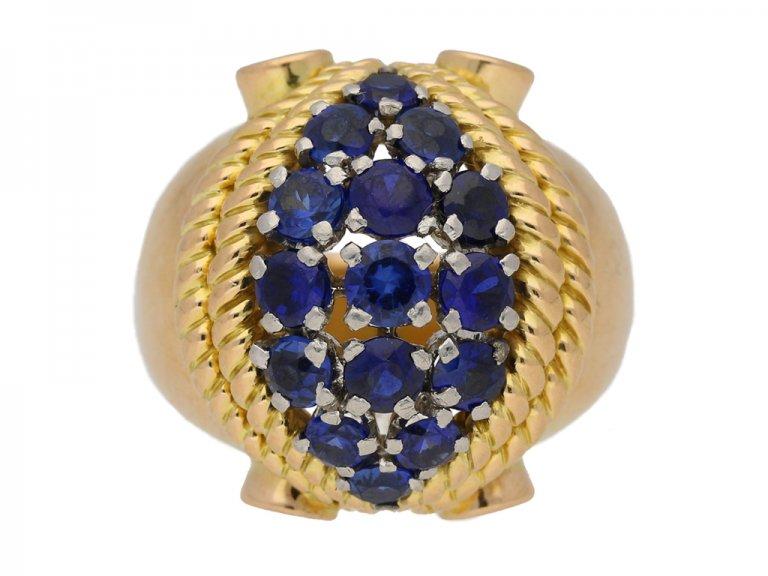 Sapphire cocktail ring, circa 1940. berganza hatton garden