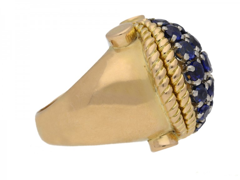 side view Sapphire cocktail ring, circa 1940. berganza hatton garden