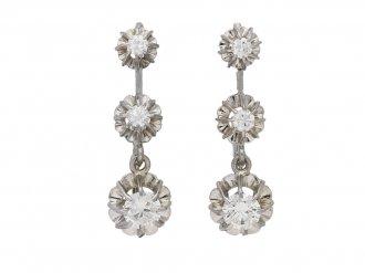 Diamond drop earrings, French, circa 1950. berganza hatton garden