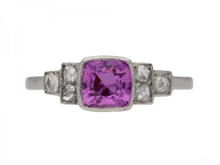Art Deco pink sapphire diamond ring berganza hatton garden