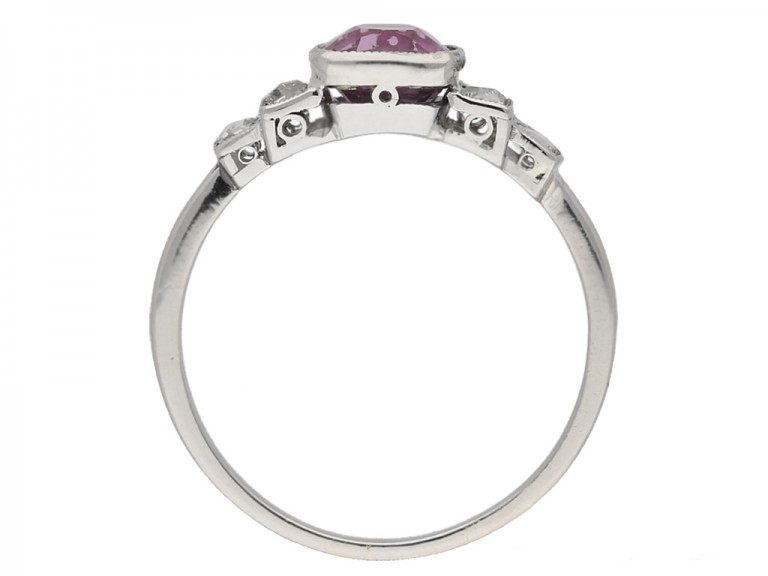 back view Art Deco pink sapphire diamond ring berganza hatton garden
