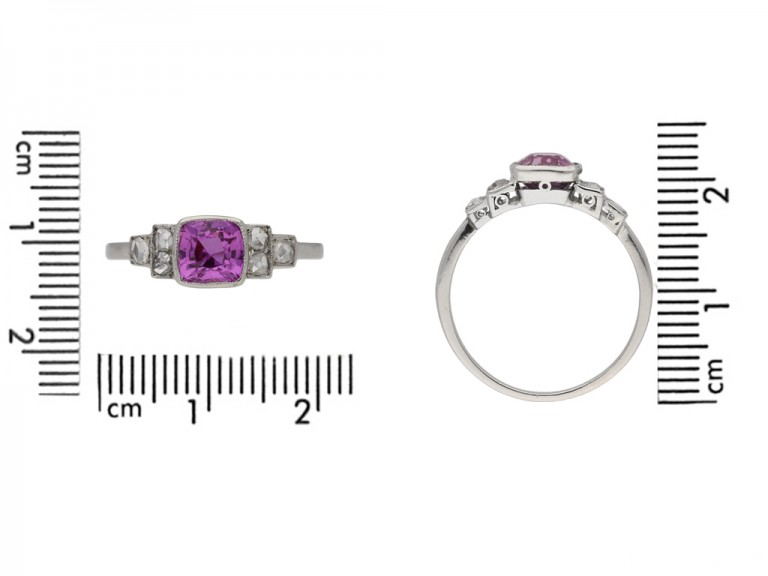 size view Art Deco pink sapphire diamond ring berganza hatton garden