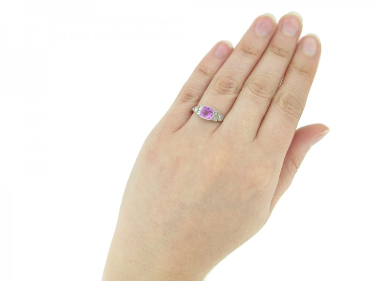 hand view Art Deco pink sapphire diamond ring berganza hatton garden
