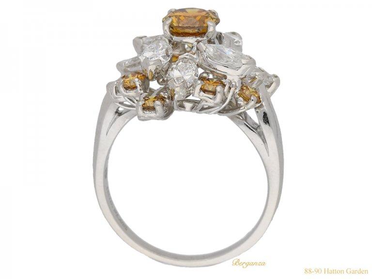 back view Vintage fancy colour diamond cluster ring by Oscar Heyman Bros, circa 1970. berganza hatton garden