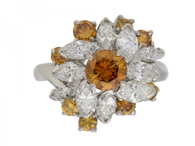 Vintage fancy colour diamond cluster ring by Oscar Heyman Bros, circa 1970. berganza hatton garden