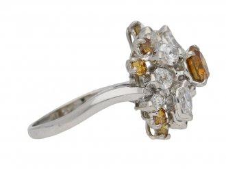 Vintage fancy colour diamond cluster ring by Oscar Heyman Bros, circa 1970. berganza hatton garden