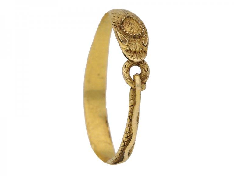 Tudor gold snake ring, circa 16th century. berganza hatton garden