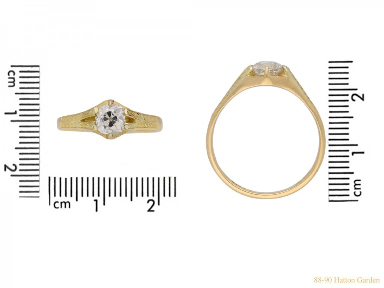 frnt view Antique diamond ring, circa 1900.