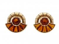 Citrine earrings, English, circa 1956. berganza hatton garden