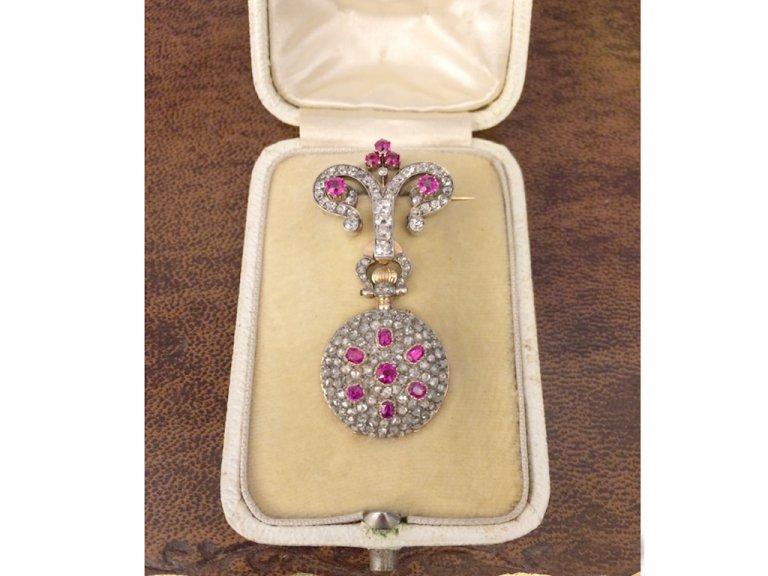 Ruby and diamond set fob watch by Mellerio, circa 1900. berganza hatton garden