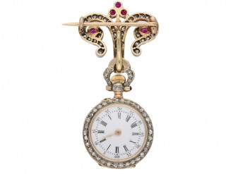 Ruby and diamond set fob watch by Mellerio, circa 1900. berganza hatton garden