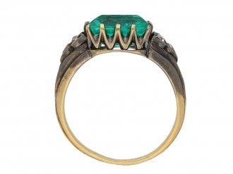 Antique Colombian emerald diamond solitaire ring hatton garden