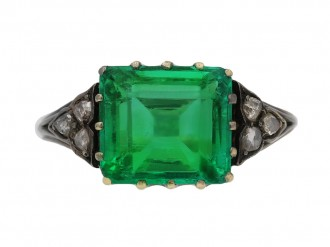 Antique Colombian emerald diamond solitaire ring hatton garden
