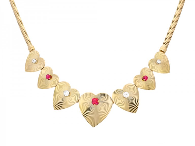 Tiffany Co ruby diamond heart necklace hatton garden