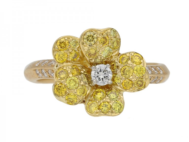 ront view yellow diamond flower ring Oscar Heyman berganza hatton garden