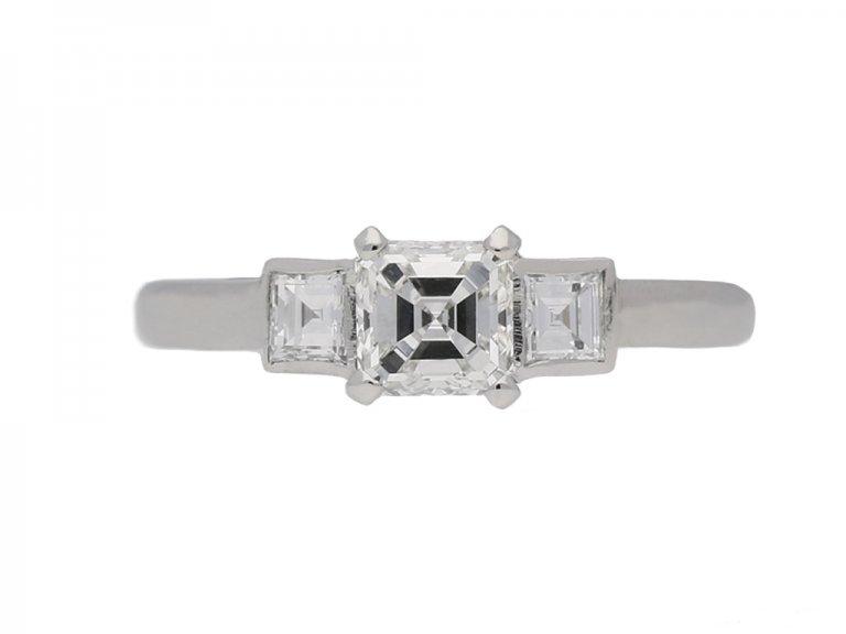 ront view Art Deco engagement diamond ring hatton garden berganza
