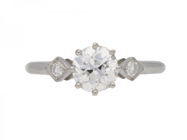 front view Antique diamond ring hatton garden berganza