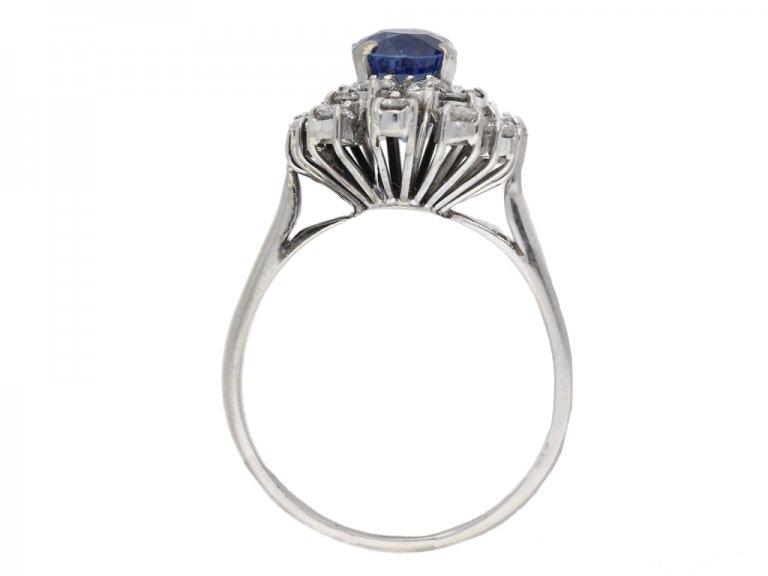 back veiw vintage Burmese sapphire diamond ring berganza hatton garden