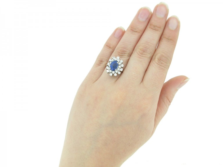 hand view vintage Burmese sapphire diamond ring berganza hatton garden