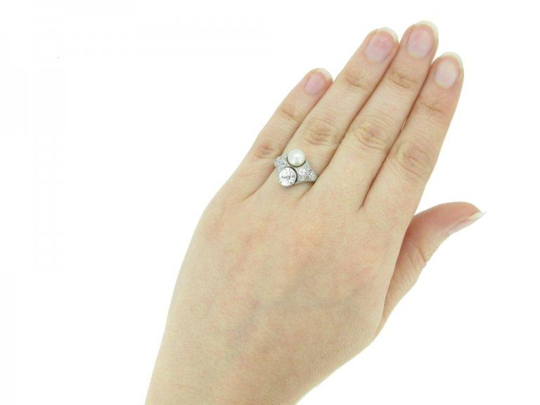 front view Art Deco pearl diamond ring berganza hatton garden