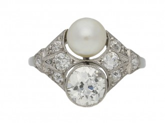 Art Deco pearl diamond ring berganza hatton garden