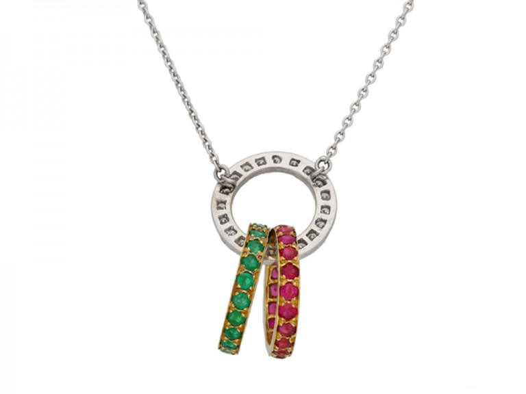 Vintage ruby, emerald and diamond pendant, berganza hatton garden