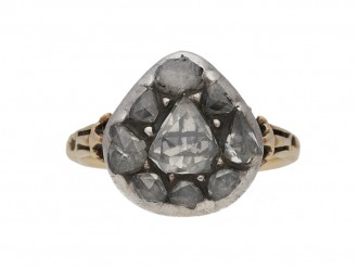front view Georgian diamond cluster ring berganza hatton garden