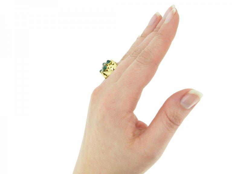vintage Emerald diamond ring berganza hatton garden