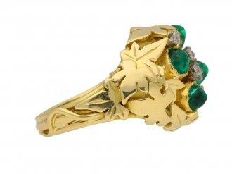 front view vintage Emerald diamond ring berganza hatton garden