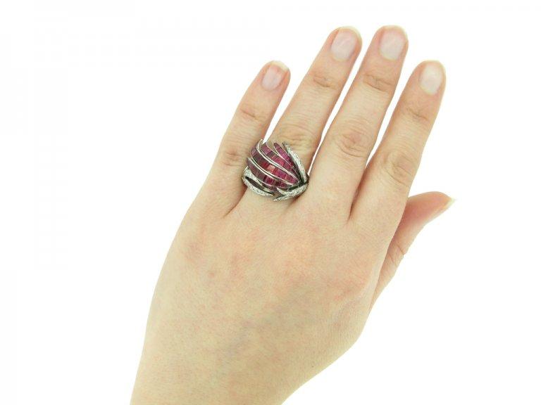 vintage Ruby diamond cocktail ring berganza hatton garden
