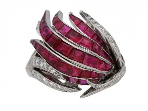 front view vintage Ruby diamond cocktail ring berganza hatton garden