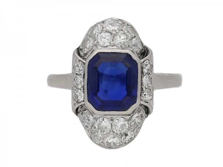 front view art deco diamond sapphire ring berganza hatton garden