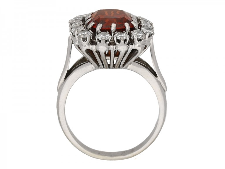 vintage Hessonite garnet diamond ring berganza hatton garden