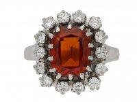front view vintage Hessonite garnet diamond ring berganza hatton garden
