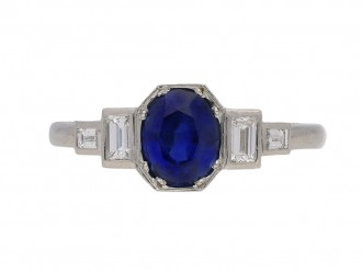 front view Art Deco sapphire diamond ring berganza hatton garden