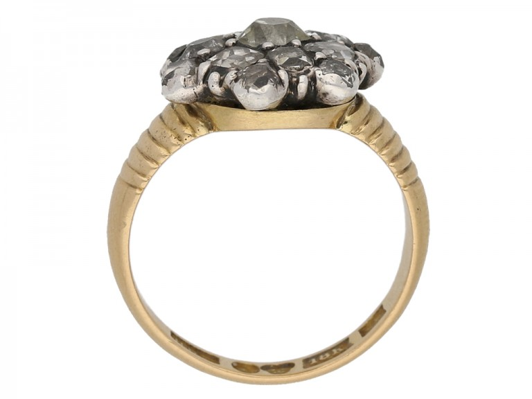 Georgian diamond button cluster ring berganza hatton garden