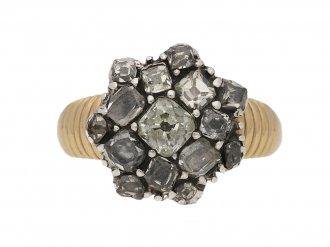 front view Georgian diamond button cluster ring berganza hatton garden