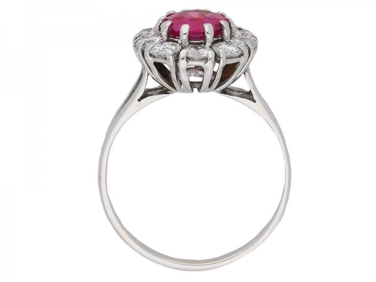 back view Vintage ruby diamond cluster ring berganza hatton garden