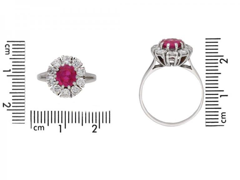 size view Vintage ruby diamond cluster ring berganza hatton garden