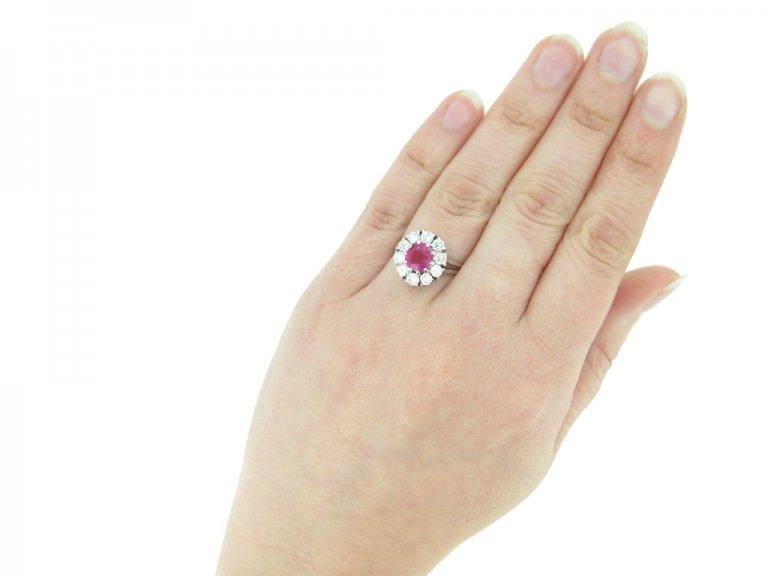 hand view Vintage ruby diamond cluster ring berganza hatton garden